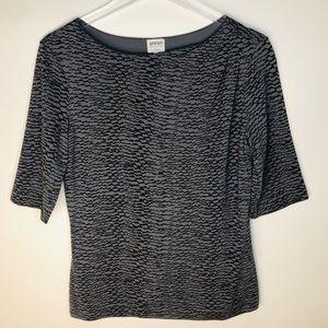 Armani Collezioni Light/Dark Gray Pattern Top